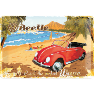 Placă metalică - VW Beetle Ready for the Beach