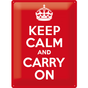 Placă metalică: Keep Calm and Carry On - 40x30 cm
