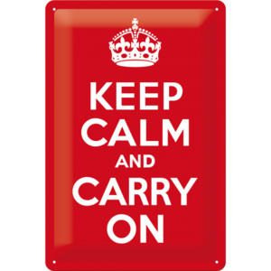 Placă metalică: Keep Calm and Carry On - 30x20 cm