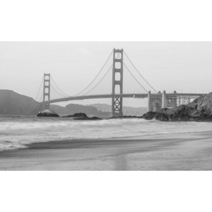 Tablou canvas: Golden Gate Bridge (alb-negru) - 75x100 cm