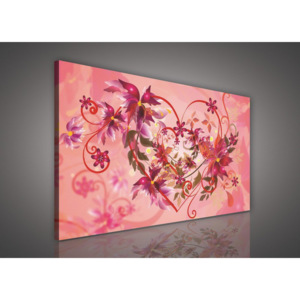 Tablou canvas: Roz floral abstraction (1) - 75x100 cm