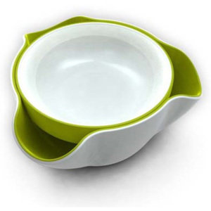 Bol servire 2 in 1 double dish alb verde