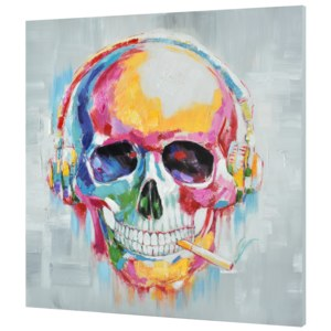 [art.work] Tablou pictat manual - cap de mort Model 28- panza in, cu rama ascunsa - 100x100x3,8cm