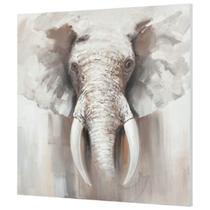 [art.work] Tablou pictat manual - elefant Model 30 - panza in, cu rama ascunsa - 100x100x3,8cm