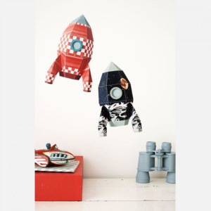 Sticker decorativ Rocket Moonscape 17 x 28 cm