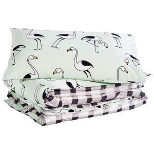 Set lenjerie de pat Flamingo Mint, bumbac satinat