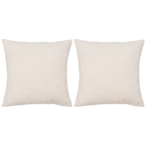 Set perne decorative 2 buc. Velur 45 x 45 cm Ivoriu