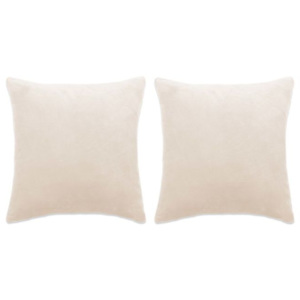 Set perne decorative 2 buc, velur 60 x 60 cm, ivoar