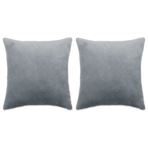 Set perne decorative 2 buc, velur 45 x 45 cm, gri