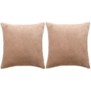 Set perne decorative, 2 buc, velur 45 x 45 cm, bej