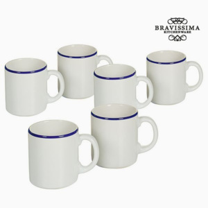 Set de Borcane Faianță Alb Bleumarin (6 pcs) - Kitchen's Deco Colectare by Bravissima Kitchen