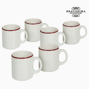 Set de Borcane Faianță Alb Bordo (6 pcs) - Kitchen's Deco Colectare by Bravissima Kitchen