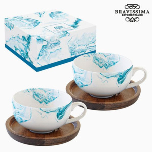 Set de 2 Căni cu Farfurie Porțelan by Bravissima Kitchen