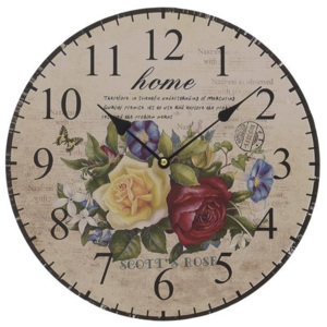 Ceas decor din lemn Home Flowers 34 cm