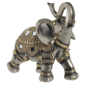 Elefant decor din rasina Golden Bronze 27cm
