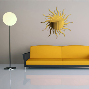 Sticker perete 3D Mirror Gold Sun