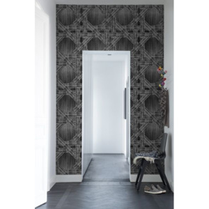Tapet Denim Trellis Black Rebel Walls