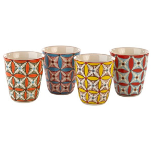 Set 4 pahare ceramice Hippy colorate Pols Potten