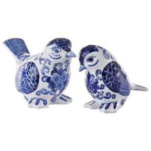 Set 2 pasari decorative din portelan albastru Birds Pols Potten
