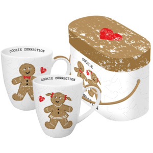 Set 2 căni din porțelan în cutie de cadou PPD Cookie Connection, 350 ml