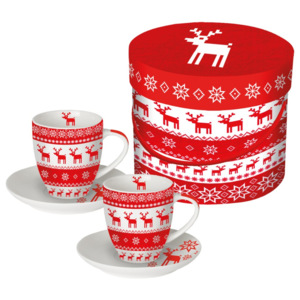 Set 2 cești espresso în cutie de cadou PPD Magic Christmas Red, 100 ml