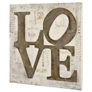 Tablou pictat manual - Love model 3- panza in, cu rama ascunsa - 60x60x2,8cm