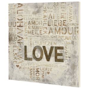 Tablou pictat manual - Love model 2- panza in, cu rama ascunsa - 60x60x2,8cm