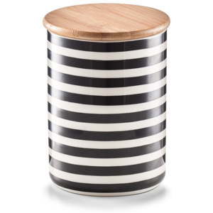 Recipient ceramic pentru depozitare Stripes, capac din bambus, Black/White, 580 ml, Ø 10xH13 cm