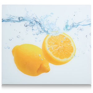 Placa din sticla protectie perete/plita, Lemon Splash, L56xl50 cm