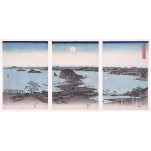 Panorama of Views of Kanazawa Under Full Moon, from the series 'Snow, Moon and Flowers', 1857 Reproducere, Ando or Utagawa Hiroshige