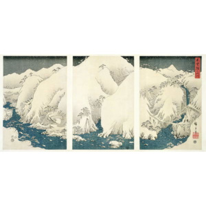 Snow storm in the mountains and rivers of Kiso, Reproducere, Ando or Utagawa Hiroshige