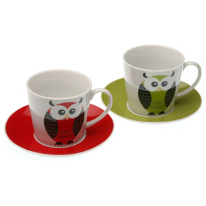 Set 2 cești de porțelan Versa Owls, 220 ml