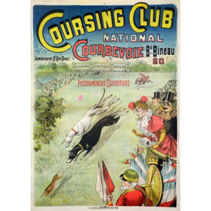 Poster advertising the opening of the Coursing Club at Courbevoie Reproducere, - French School