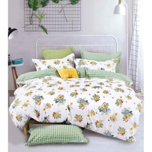Lenjerie pat 2 persoane, Bumbac Finet, 6 Piese, Design Floral, Alb/Verde, N2921