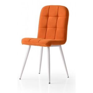 Scaun Elite Cromy Smart Living Studio Casa Tapitat Cadru Metal Alb +Textil Orange