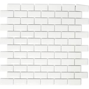 Mozaic ceramic Brick Bond Diamond CBW 104 uni alb 30x30 cm
