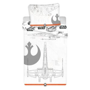 Lenjerie de pat Jerry Fabrics Star Wars Vehicles 2019, din bumbac, 140 x 200 cm, 70 x 90 cm