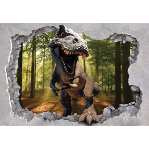 Dinosaur 3D Jumping Out Of Hole In Wall Fototapet, (104 x 70.5 cm)