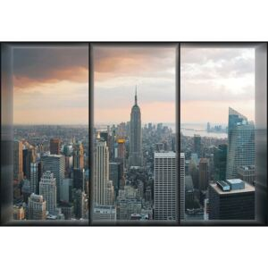 New York Skyline Window View Fototapet, (254 x 184 cm)
