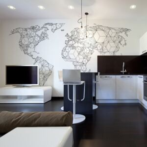 Fototapet Bimago - Map of the World - white solids + Adeziv gratuit 450x270 cm