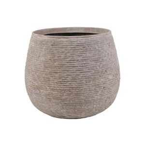 Ghiveci gri-nisip Lines Stonecast Round Grey H26xØ30cm | PRIMERA COLLECTION