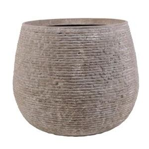 Ghiveci gri-nisip Lines Stonecast Round Grey H30xØ38cm | PRIMERA COLLECTION