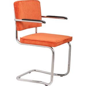 Scaun cu brate cromat orange Armchair Ridge Kink Rib Orange 19A | ZUIVER