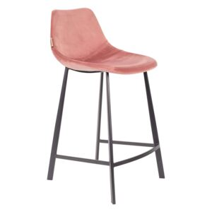 Scaun de bar (H-91cm) din catifea roz Counter Stool Franky Velvet Old Pink | DUTCHBONE