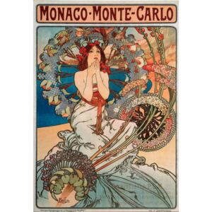 Advertising poster by Alphonse Mucha for the railway line Monaco, Monte Carlo, 1897 - Dim 74x108 cm Advertising poster by Alphonse Mucha for railway lines between Monaco and Monte Carlo, 1897 - Private collection Reproducere, Mucha, Alphonse Marie