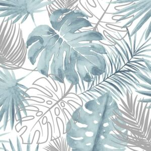 DUTCH WALLCOVERINGS Tapet model frunze Monstera, albastru L604-01