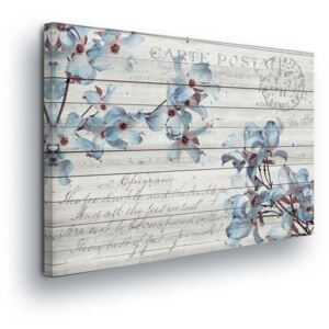 GLIX Tablou - White Wood with Blue Flowers 80x60 cm