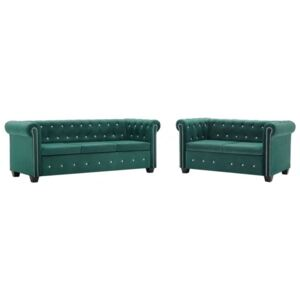 Koohashop Set canapele Chesterfield 2 piese, tapiterie catifea, verde