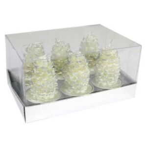 Set 6 lumanari decorative, con alb de brad, 5 cm