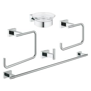 Set Grohe Essentials Cube Master 5 in 1, cuier, suport prosop, sapun si hartie igienica, fixare perete ascunsa, Crom